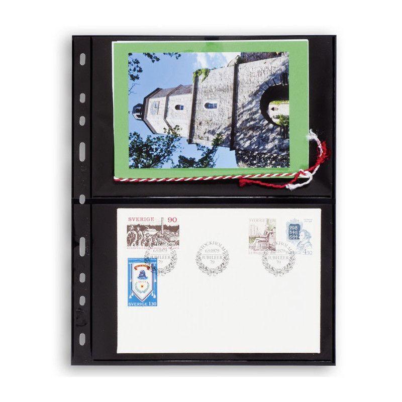 Recharges noires Optima à 2 poches pour cartes postales, enveloppes.