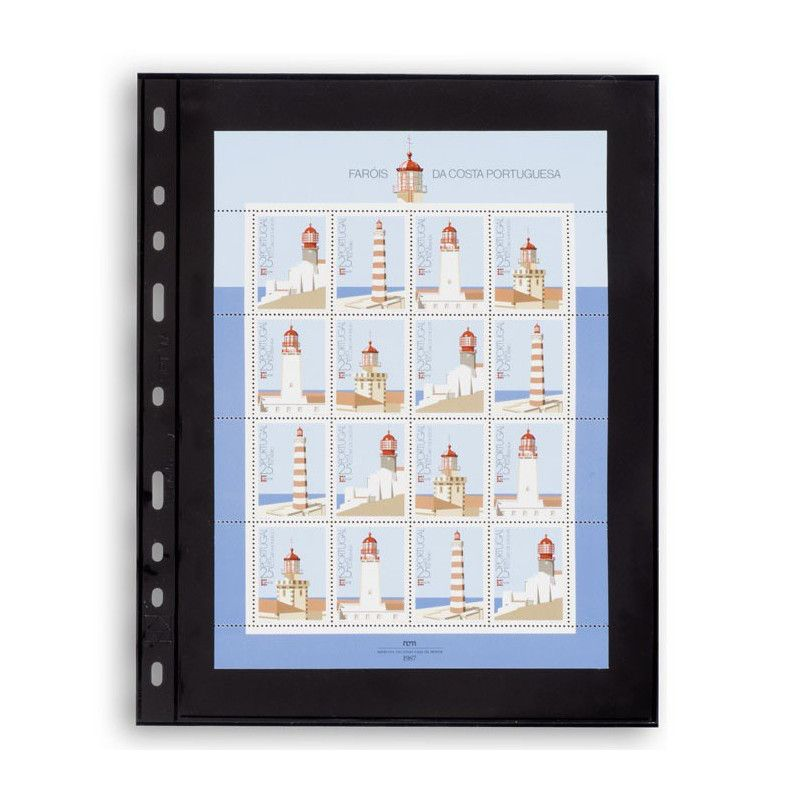 Recharges noires Optima à 1 compartiment pour mini-feuille de timbres.