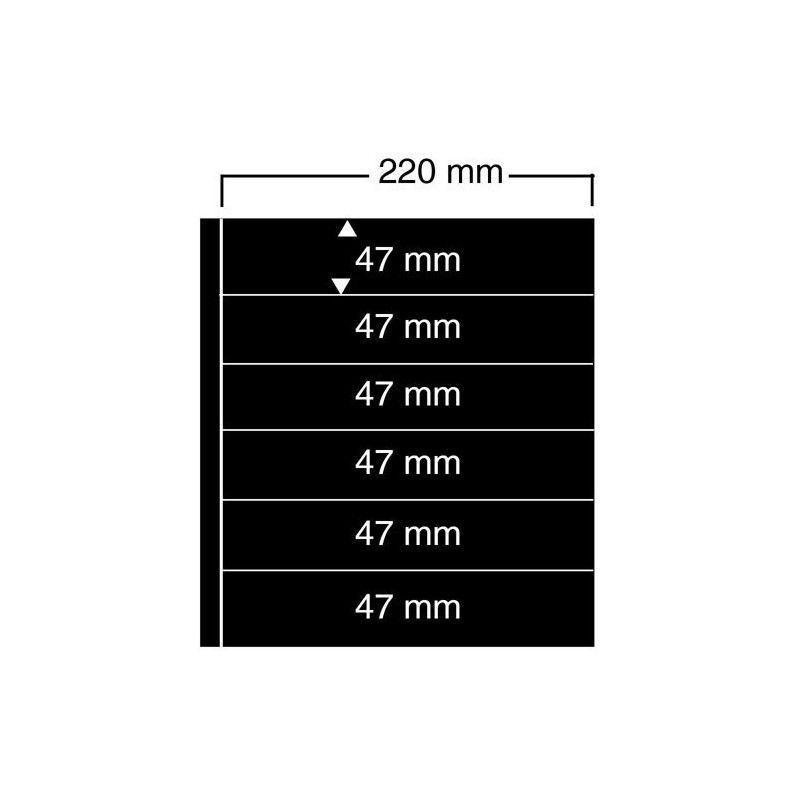 Feuilles noires compact A4 Safe à 6 bandes pour timbres-poste.