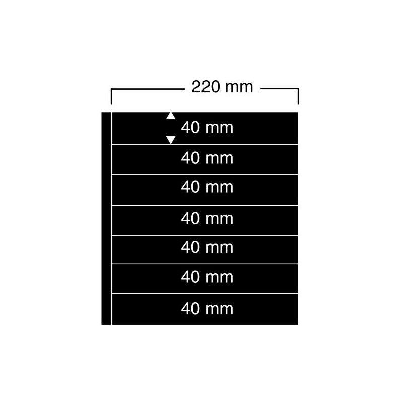 Feuilles noires compact A4 Safe à 7 bandes pour timbres-poste.