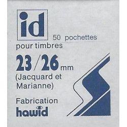 Pochettes Hawid double soudure 23 x 26 mm pour timbres type Marianne.