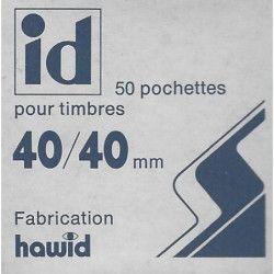 Pochettes Hawid double soudure 40 x 40 mm pour timbres type Cœurs.