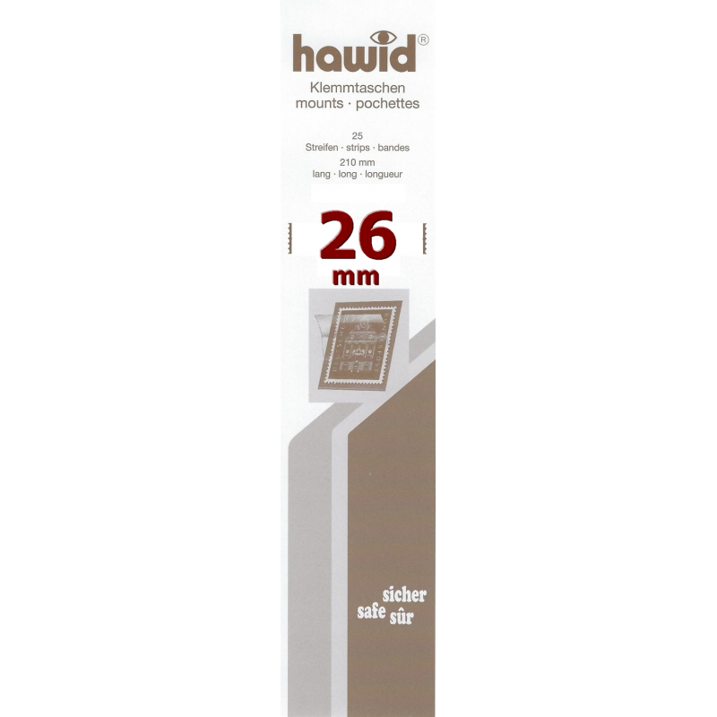 Bandes Hawid simple soudure 210 x 26 mm pour timbres-poste.