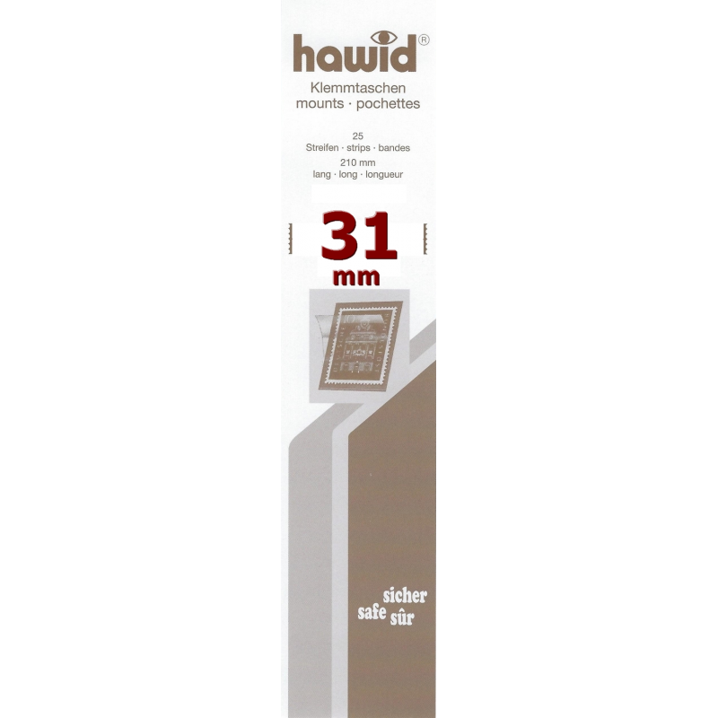 Bandes Hawid simple soudure 210 x 31 mm pour timbres-poste.