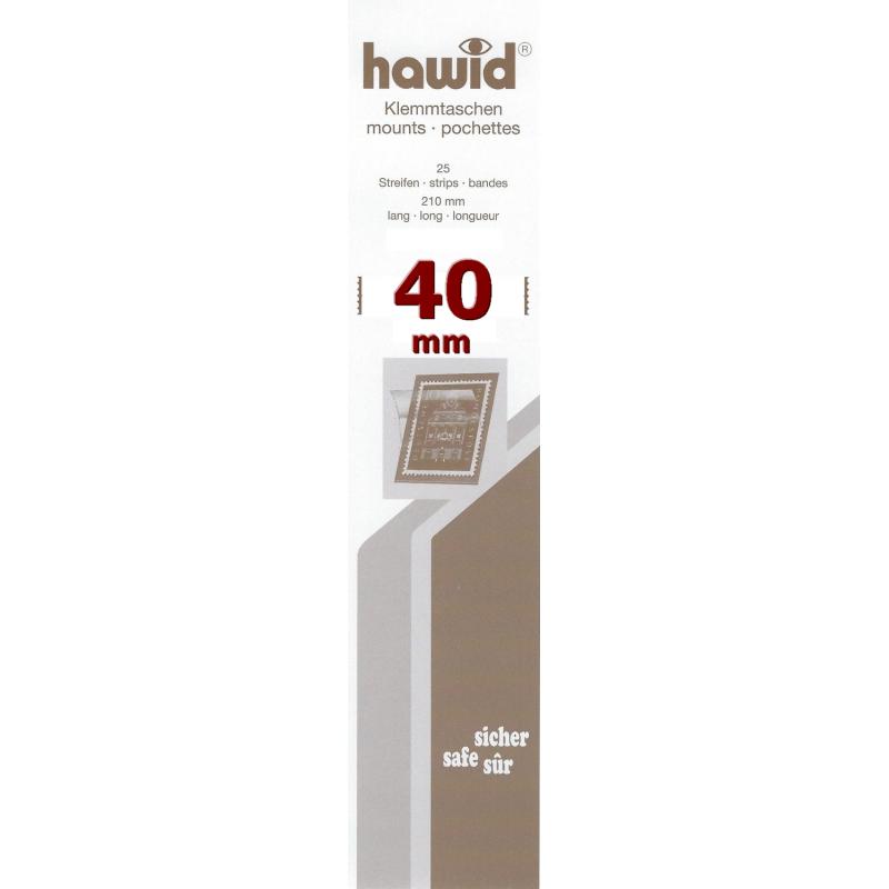 Bandes Hawid simple soudure 210 x 40 mm pour timbres-poste.
