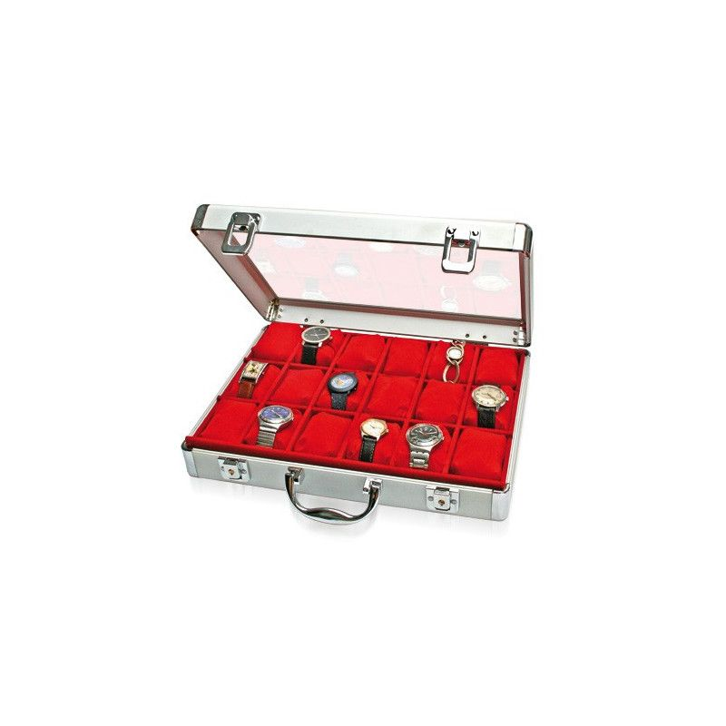 Mallette alu velours rouge pour présenter 18 montres.