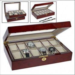 Coffret-vitrine en bois massif laqué pour présenter 12 montres de collection.