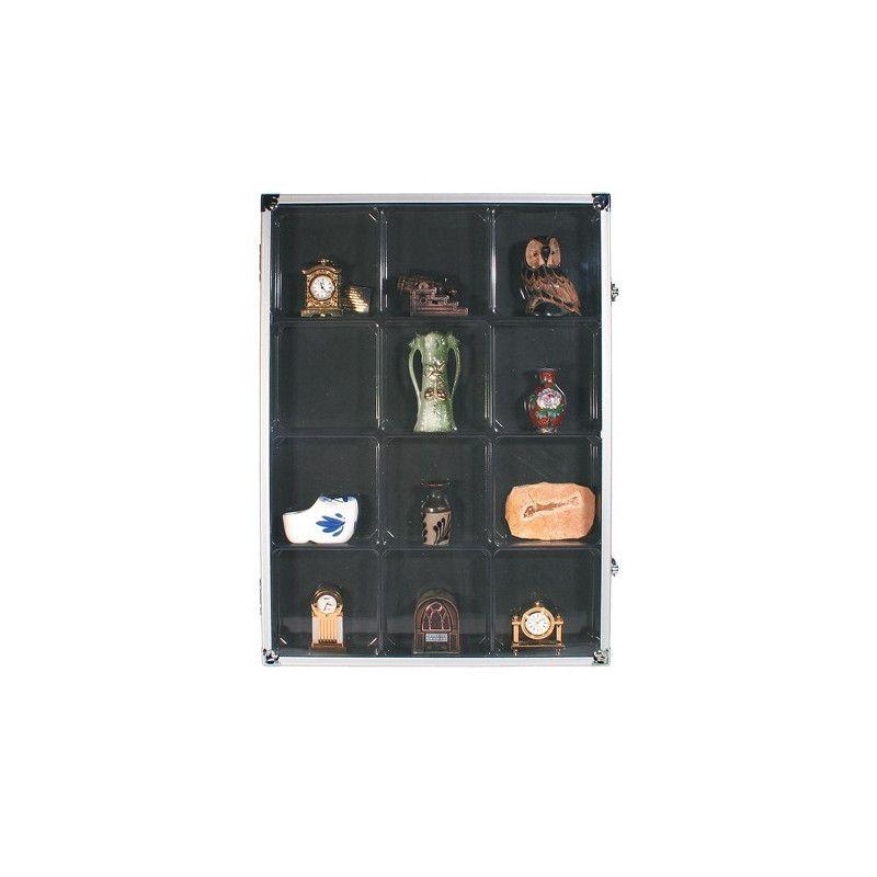 Vitrine de collection avec 12 cases pour divers objets.