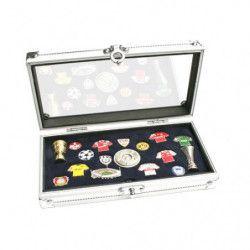 Coffret-vitrine alu pour présenter divers objets de collection.
