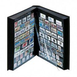 Classeur Lindner en cuir pour timbres 60 pages noires.
