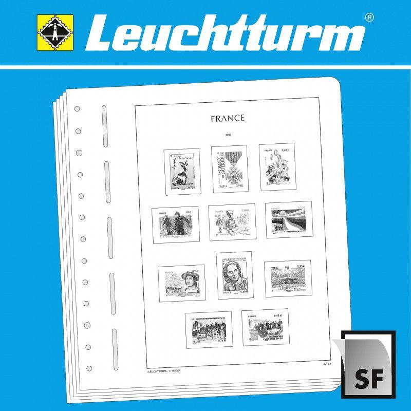"""Feuilles neutres pour Leuchtturm pour timbres distributeur francais type """"LISA""""."""