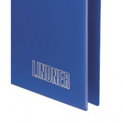Reliure Uniplate Lindner bleue à 3 anneaux.