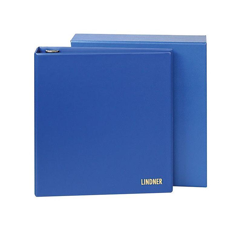 Reliure Uniplate Lindner bleue avec boitier de protection.