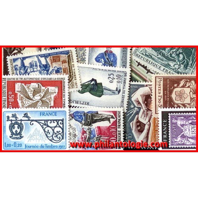 """Timbres de France thématiques """"Journée du timbre"""" tous différents."""