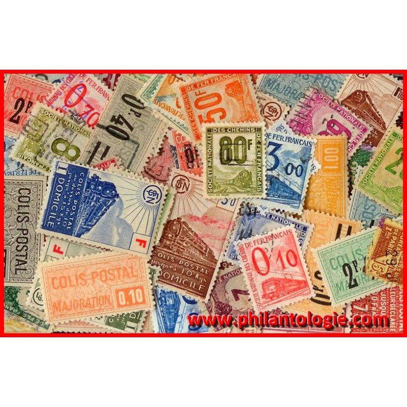 Timbres colis postaux de France tous différents.