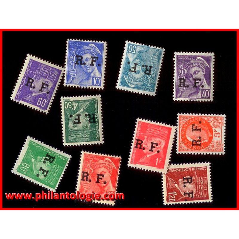 10 timbres de Libération de France tous différents.
