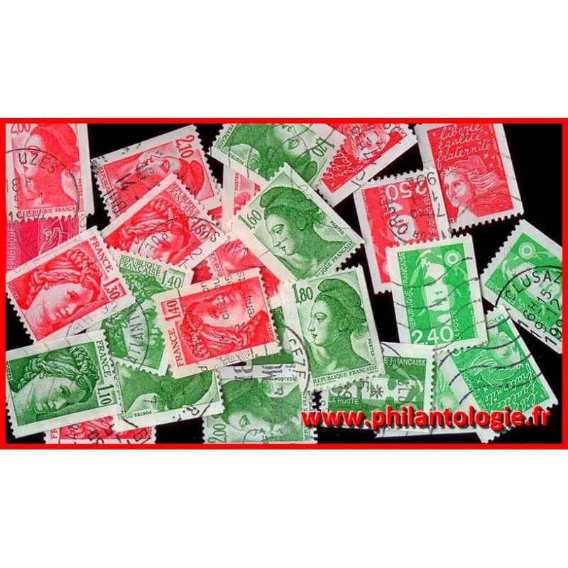 25 timbres de France issus de roulette tous différents.