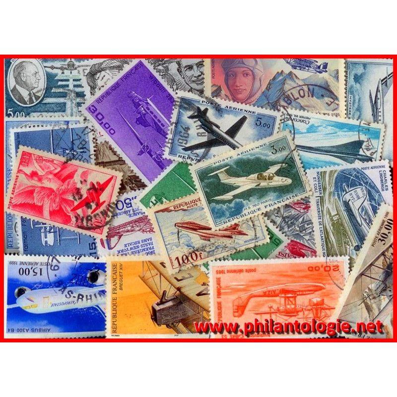25 timbres poste aérienne de France tous différents.