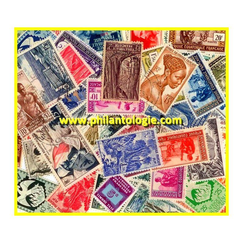 Afrique Equatoriale Française timbres de collection tous différents.