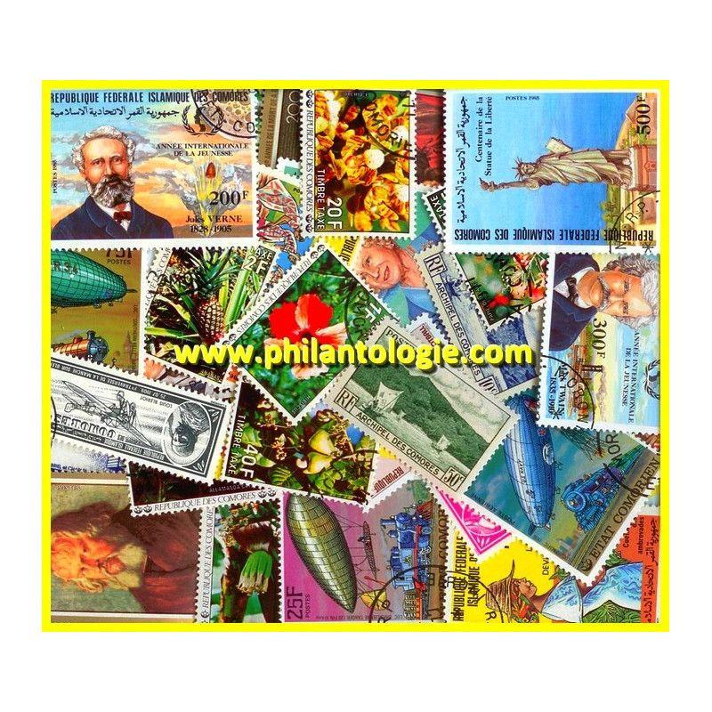 Archipel de Comores timbres de collection tous différents.