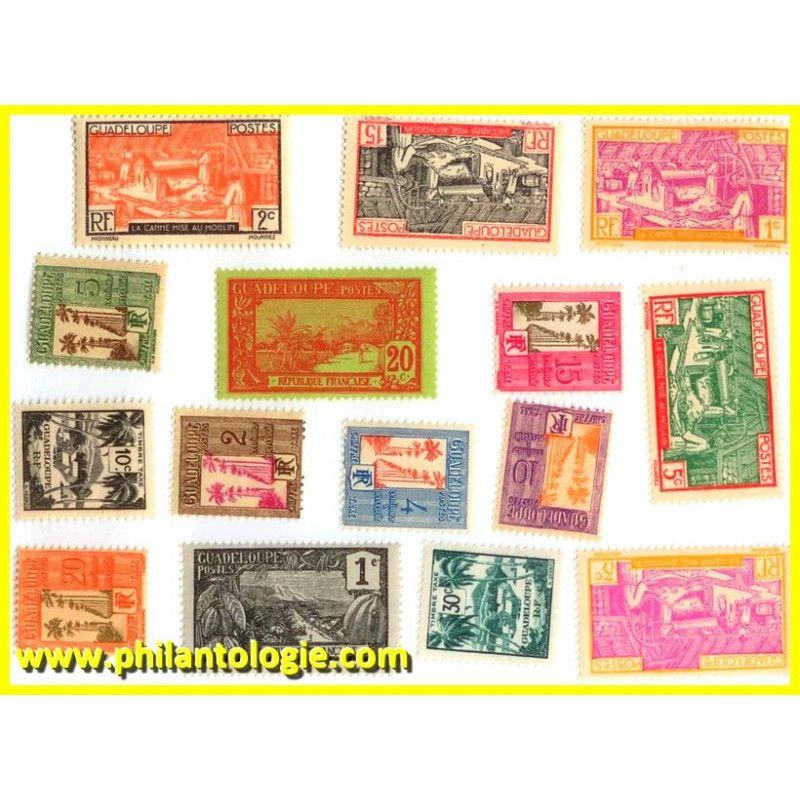 Guadeloupe timbres de collection tous différents.