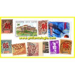 Mayotte, pochette de 10 timbres tous différents.