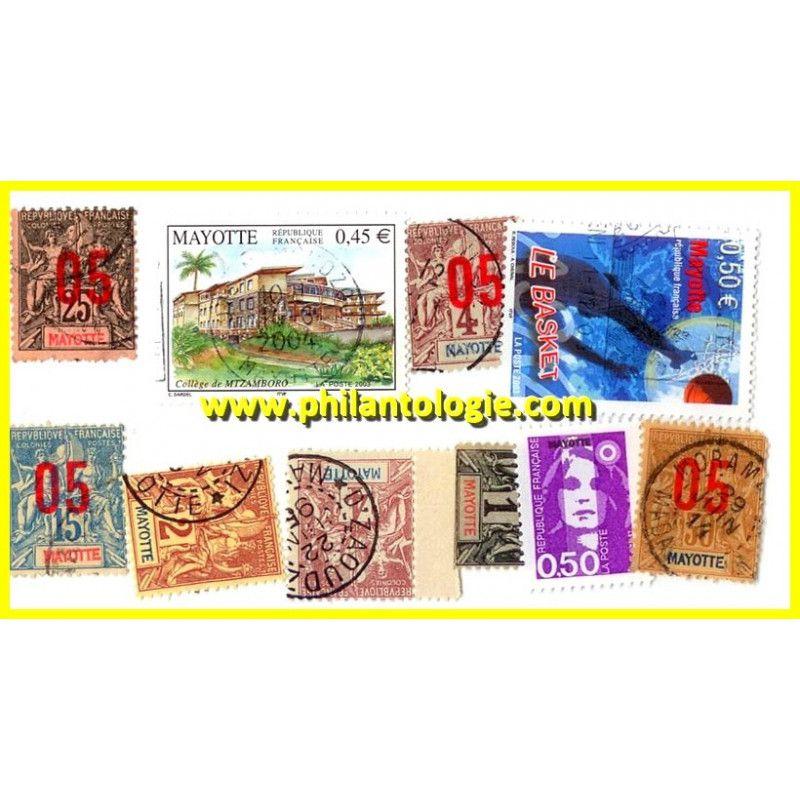 Mayotte pochette de 10 timbres tous différents.