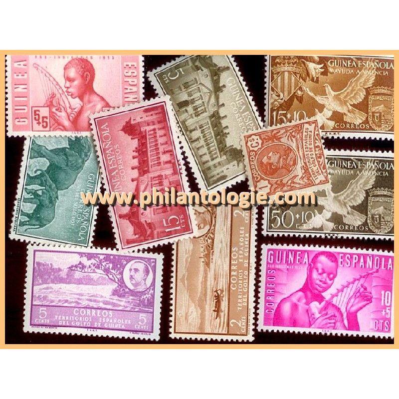 Guinée Espagnole timbres de collection tous différents.
