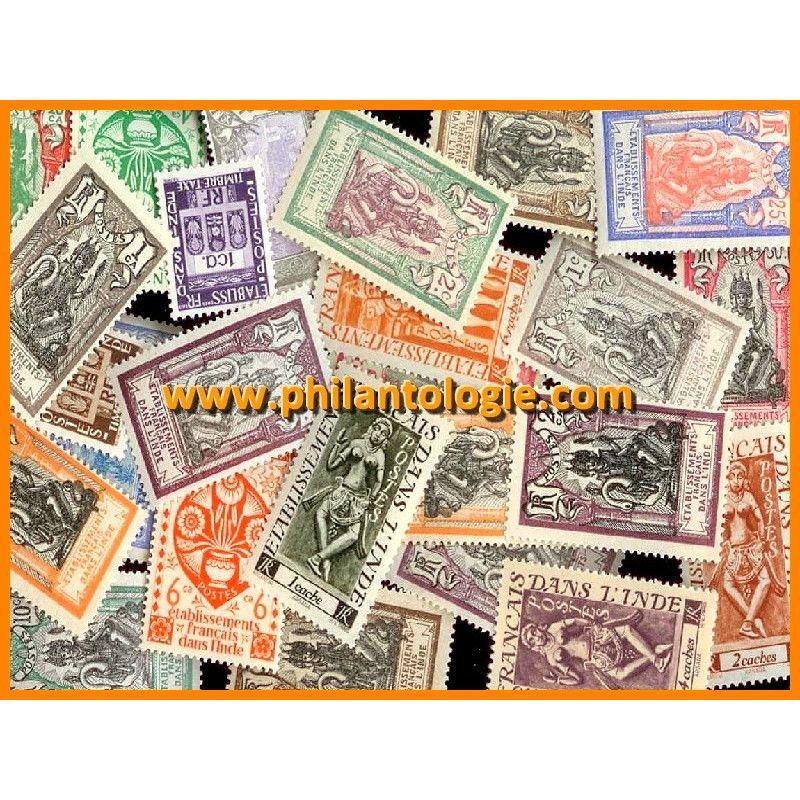 Inde Française timbres de collection tous différents.