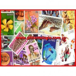 Zaïre timbres de collection tous différents.