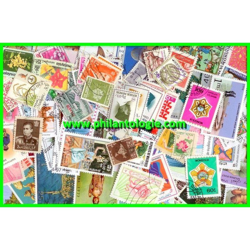 Asie timbres de collection tous différents.