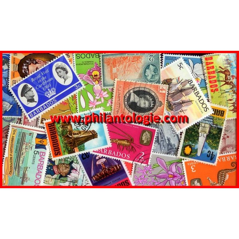 Barbade timbres de collection tous différents.
