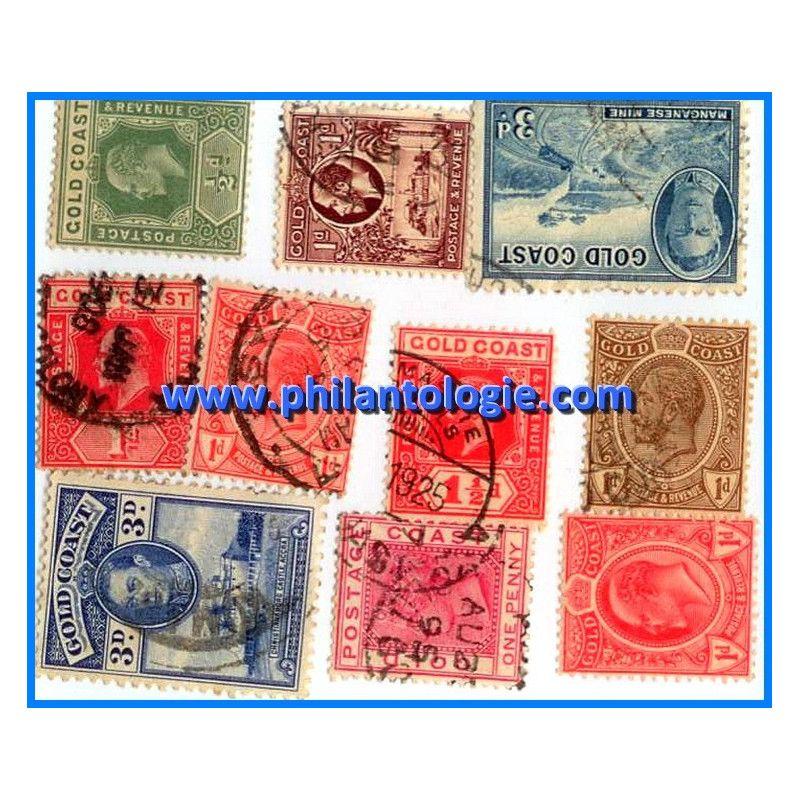 Côte de l'Or 10 timbres de collection tous différents.