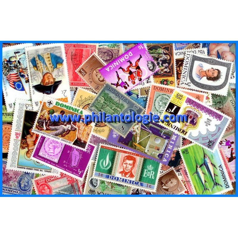 Dominique timbres de collection tous différents.
