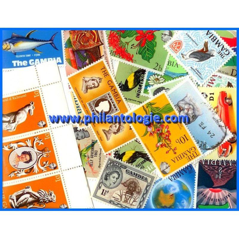 Gambie timbres de collection tous différents.