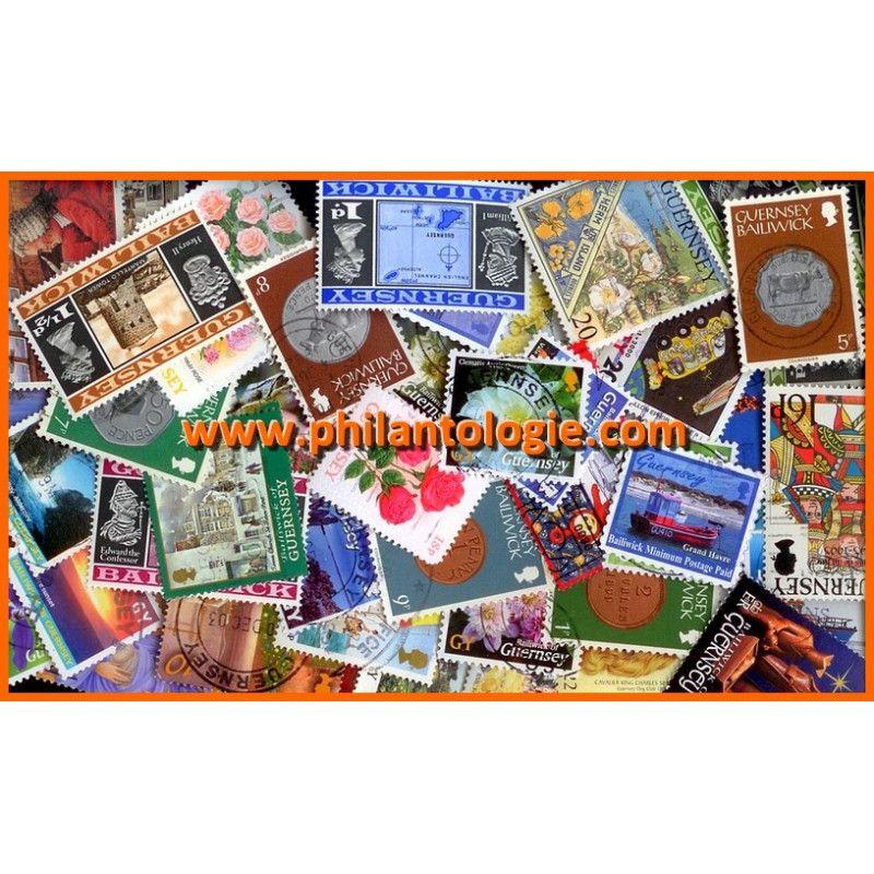 Guernesey timbres de collection tous différents.