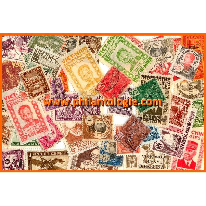 Indochine timbres de collection tous différents.
