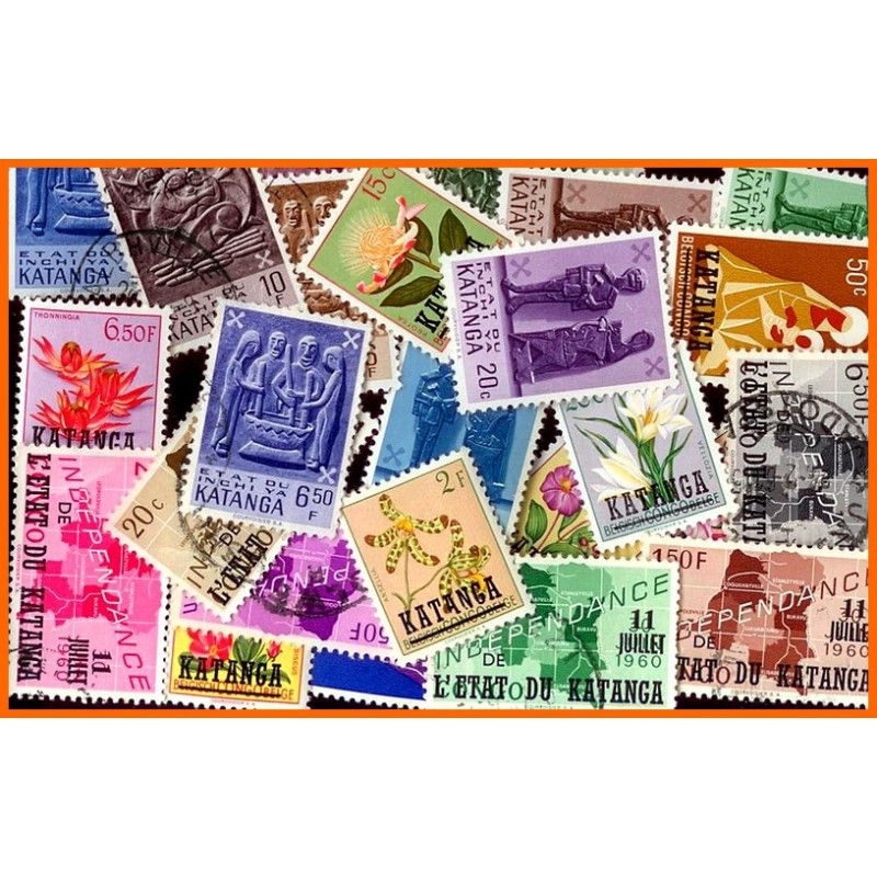 Katanga timbres de collection tous différents.