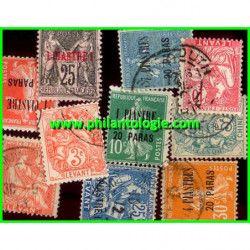 Levant Francais, pochette de 10 timbres tous différents.