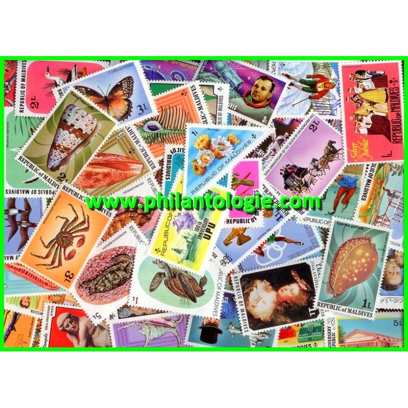 Maldives timbres de collection tous différents.
