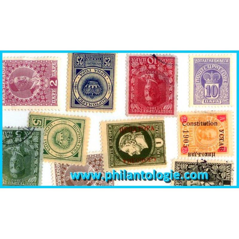 Monténégro timbres de collection tous différents.