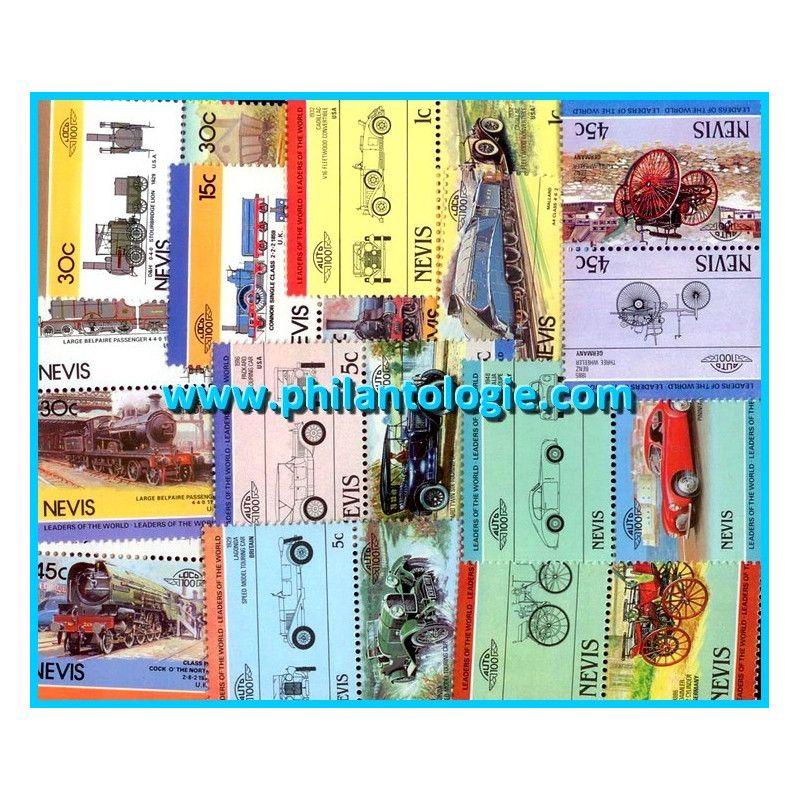 Île Niévès (Nevis) timbres de collection tous différents.