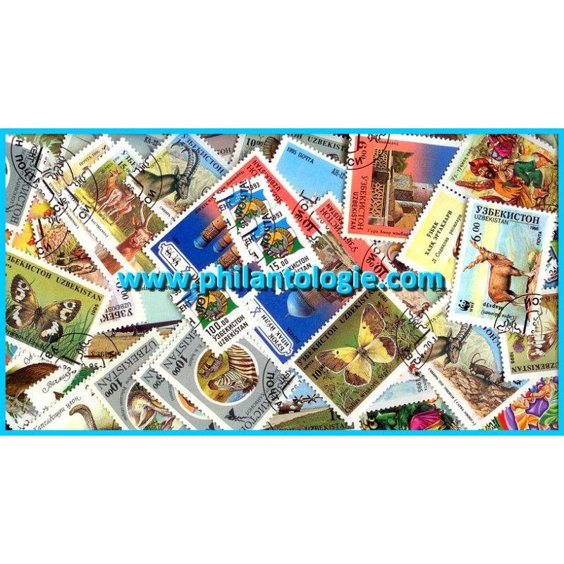 Ouzbékistan timbres de collection tous différents.