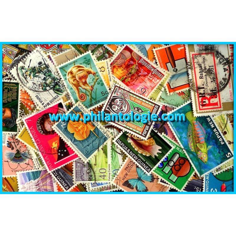 Papouasie Nouvelle Guinée timbres de collection tous différents.