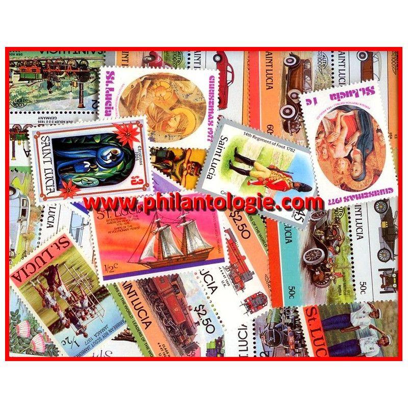 Comté de Sainte-Lucie timbres de collection tous différents.