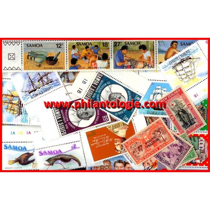 Samoa timbres de collection tous différents.