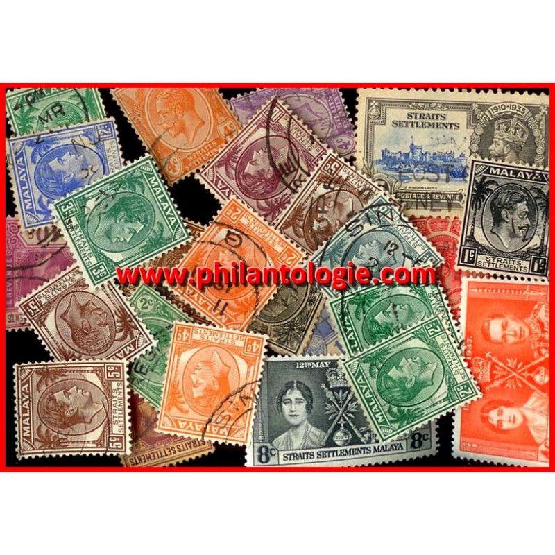 Straits Settlements timbres de collection tous différents.
