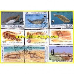 Turkménistan 5 timbres de collection tous différents.