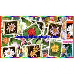 Plantes aquatiques 25 timbres thématiques tous différents.