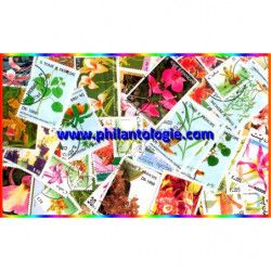 Orchidées timbres thématiques tous différents.
